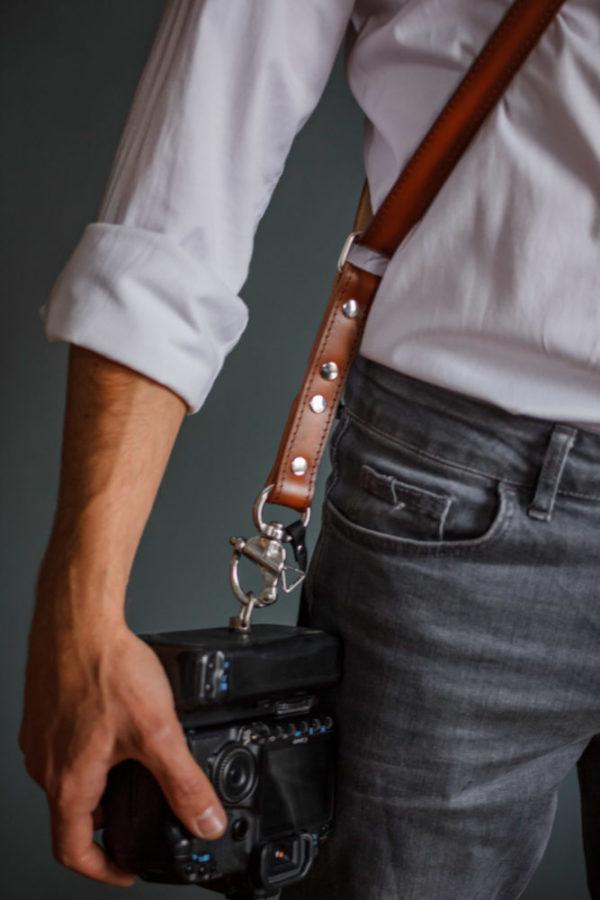 leather mono camera strap
