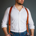 two leather camera strap