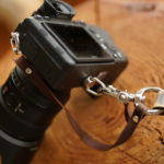 Vintage narrow camera strap with stitching