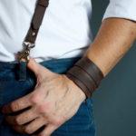 Men's leather suspenders