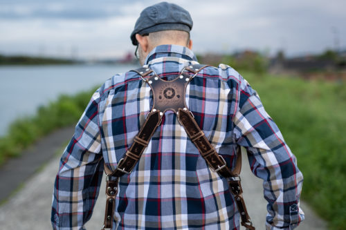 Vintage camera strap with stitching photo review