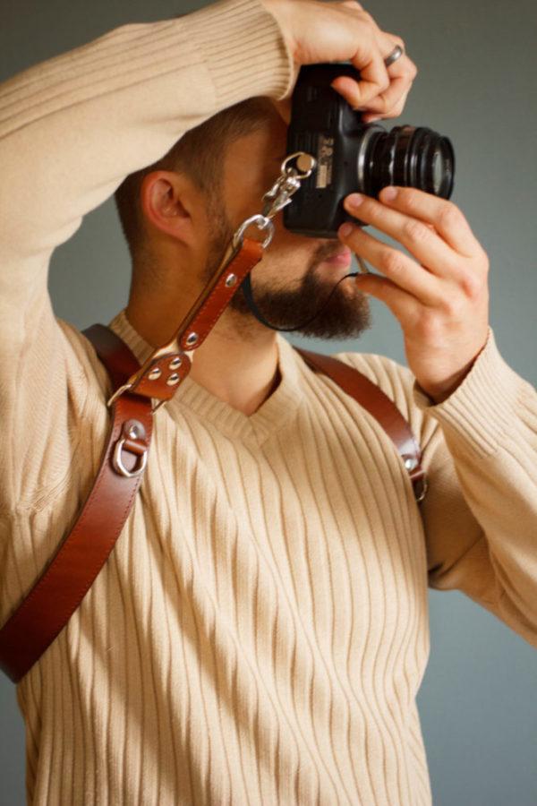 Dual camera strap leather